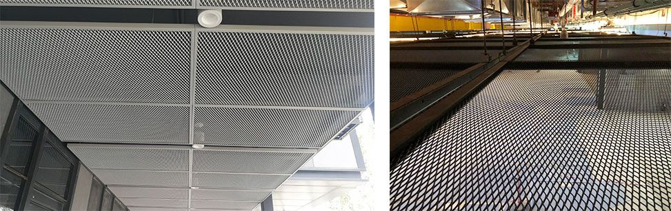 Aluminum expanded metal panel for ceiling system